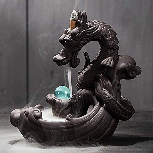 Incense Burner - Dragon Ceramic Backflow Waterfall Incense Holder with LED