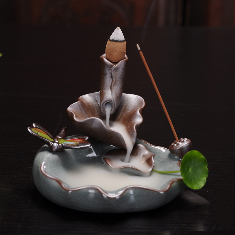Incense Burner - Dragonfly Lotus Ceramic Backflow Waterfall Incense Holder