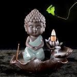 Incense Burner - Monk Small Buddha Ceramic Backflow Waterfall Incense Holder