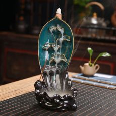 Lotus Ceramic Backflow Waterfall Incense Holde