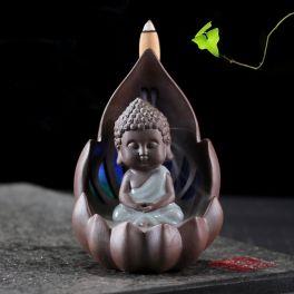 Incense Burner - LED Small Buddha Ceramic Backflow Waterfall Incense Holder