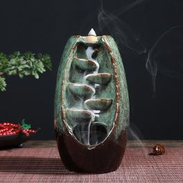 Incense Burner - Ceramic Backflow Waterfall Incense Holder - Light Green