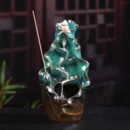 Incense Burner - Lotus Leaf with Seeds Ceramic Backflow Waterfall Incense Holder