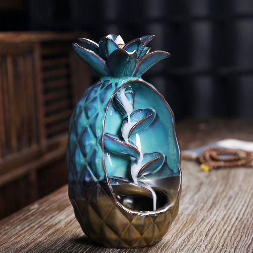 Incense Burner - Pineapple Ceramic Backflow Waterfall Incense Holder