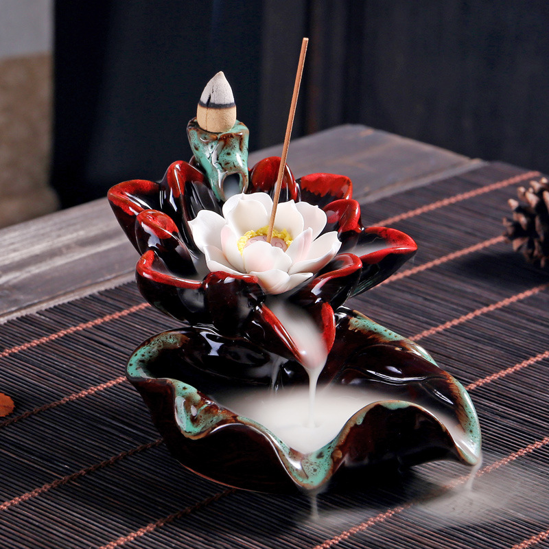 Incense Burner - Lotus Ceramic Backflow Waterfall Incense Holder